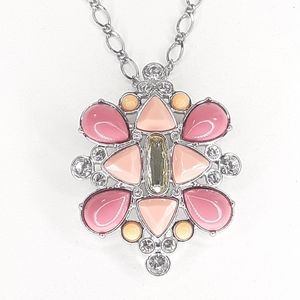 Lia Sophia Necklace / Brooch Pink Orange Silver